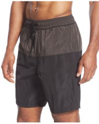 Calvin Klein Two-Tone Swim Trunks - Lyst
