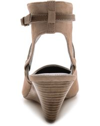 Belle By Sigerson Morrison - Wallace Ankle Strap Wedges - Taupe - Lyst