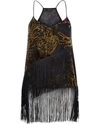 River Island Black Devoré Fringed Cami black - Lyst