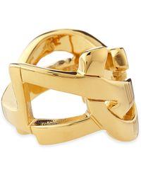 Saint Laurent - Golden Ysl Logo Ring - Lyst