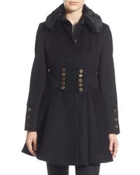 Betsey Johnson - Faux Fur Collar Skirted Wool Blend Coat - Lyst