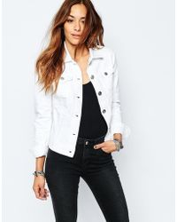 Replay | Fitted Denim Jacket - White | Lyst