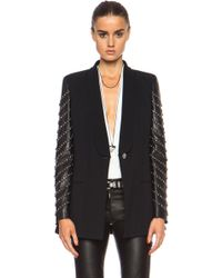 Versace One Button Blazer with Embellished Leather Sleeves - Lyst