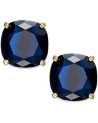 Kate Spade Gold-Tone Navy Stone Square Stud Earrings - Lyst