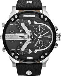 Diesel Mens Mr Daddy 20 Black Leather Strap Watch 66x57mm - Lyst