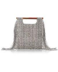 Ferragamo Glass Woven Fringe Handbag in Rocciaoro - Lyst