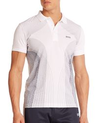 Hugo Boss Green Parsu Cotton-Blend Polo white - Lyst