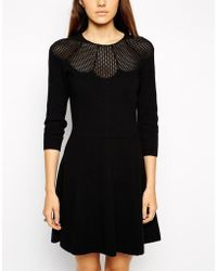 Asos Knitted Skater Dress with Lace Insert - Lyst