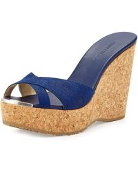 Jimmy Choo Perfume Crisscross Wedge Sandal - Lyst