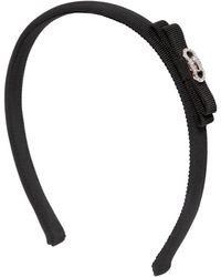 Ferragamo Grossgrain Headband W/ Swarovski Gancio black - Lyst