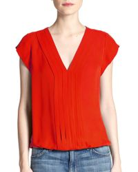Joie Marcher Silk Pintuck-Pleated Blouse red - Lyst