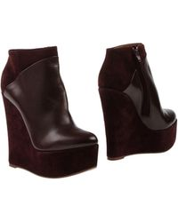 Celine Purple Ankle Boots - Lyst