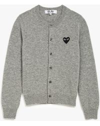 Play Comme des Garçons Top Dyed V-Neck Wool Cardigan gray - Lyst