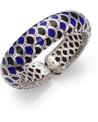 John Hardy Naga Enamel & Sterling Silver Wide Flex Cuff Bracelet/Blue - Lyst