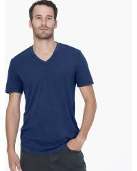 James Perse Clear Jersey V-Neck blue - Lyst