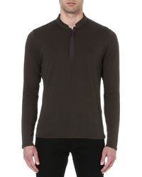 The Kooples Sport Longsleeved Embroidered Chest Top Kaki - Lyst