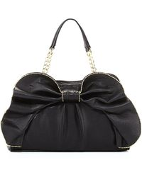 Betsey Johnson Bowdacious Bead Trimmed Satchel Bag Black - Lyst