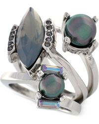 Vince Camuto - Rhodium-Tone Iridescent Glass Pearl Bypass Ring - Lyst