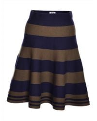 J.won - Stripe Knit Navy & Olive Flared Skirt - Lyst