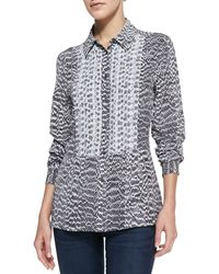 Equipment Trent Snake-print Blouse with Contrast Bib Bright White Mlti X-small0-2 - Lyst