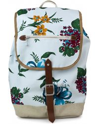 Junya Watanabe | Flowery Canvas And Leather Backpack | Lyst