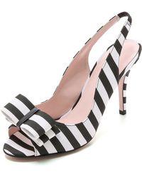 Kate Spade Celeste Stripe Slingback Heels - Black/White - Lyst
