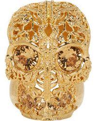 Alexander McQueen Gold Filigree Skull Ring - Lyst