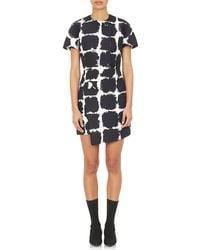 Balenciaga Brushstroke Geometric-Print Wrap Minidress - Lyst