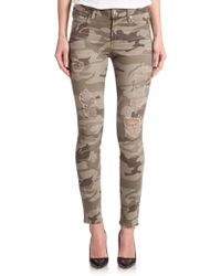True Religion Halle High-Rise Distressed Camo-Print Skinny Jeans green - Lyst