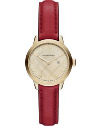 Burberry Goldtone Ip Stainless Steel & Leather Strap Watch/Red - Lyst