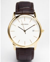 Sekonda Leather Strap Watch With Gold Plated Dial