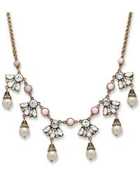 Palmbeach Jewelry - Crystal And Simulated Pearl Droplet Necklace With Bezel-set Accents In Antique Gold Tone - Lyst