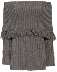 Exclusive For Intermix - Ribbed Off The Shoulder Fringe Top - Lyst