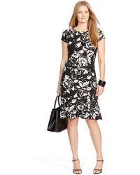 Ralph Lauren Floral Peplum Dress - Lyst