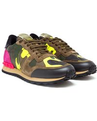 Valentino Camouflage Suede Canvas and Leather Trainers - Lyst