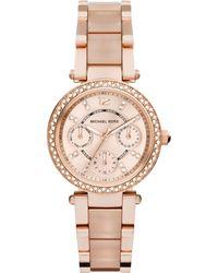 Michael Kors Women'S Chronograph Mini Parker Blush And Rose Gold-Tone Stainless Steel Bracelet Watch 33Mm Mk6110 - Lyst