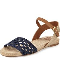 Tory Burch Solemar Flat Leather Sandal - Lyst