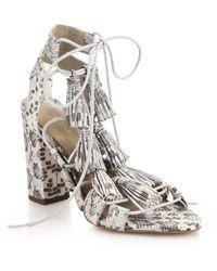 Loeffler Randall Luz Snakeskin-Embossed Leather Tassel Sandals - Lyst