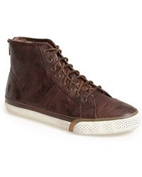 Frye 'Greene' Back Zip Shearling Lined Leather High Top Sneaker - Lyst