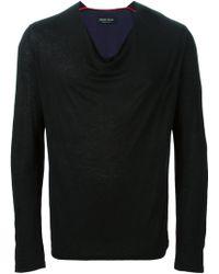 Sébastien Blondin - V-Neck Linen-Blend T-Shirt - Lyst