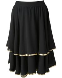 Valentino Vintage Metallic Trim Layered Skirt - Lyst