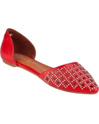 Jeffrey Campbell In Love Stud D'Orsay Flat Red Leather - Lyst