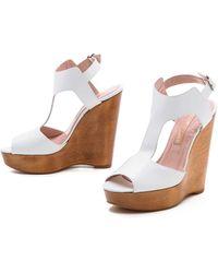 Jill Stuart Myrtle T Strap Sandals White - Lyst