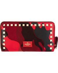 Valentino Red Camo Gold Rockstud Continental Wallet - Lyst
