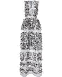 Blumarine Flower Embellished V-neck Long Dress - Lyst