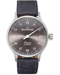 Meistersinger - 'pangaea - Pm907' Automatic Single Hand Leather Strap Watch - Lyst