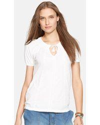 Lauren by Ralph Lauren Embroidered Short Sleeve Cotton Top - Lyst