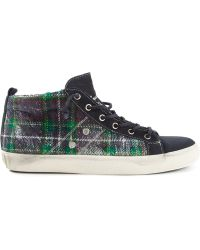 Leather Crown Tartan Pattern Hi-top Sneakers - Lyst