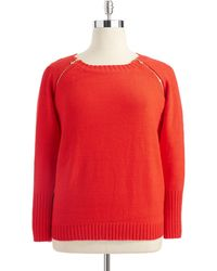 Anne Klein Plus Knit Sweater with Zipper Detail - Lyst