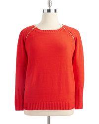 Anne Klein Plus Knit Sweater with Zipper Detail - Lyst